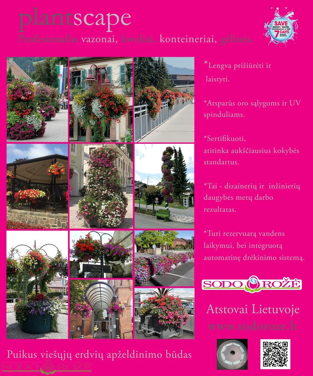 Naujiena! Priofesionalūs gėlių vazonai PLANTSCAPE